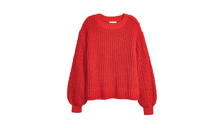 H M Red Chunky Knit Sweater