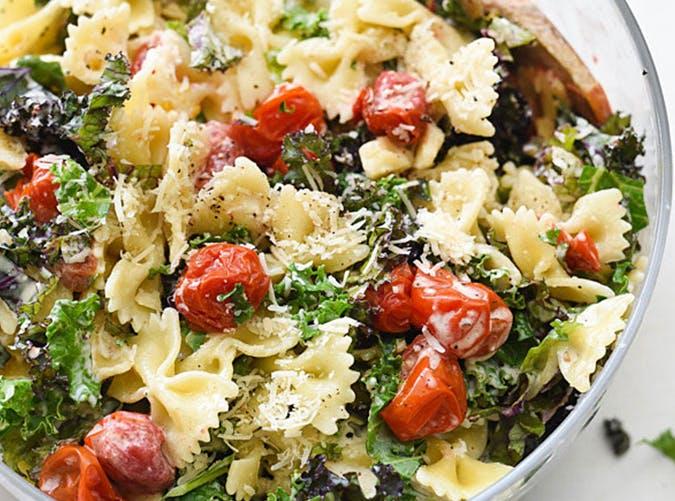 Kale Caesar Pasta Salad 15 minute recipe