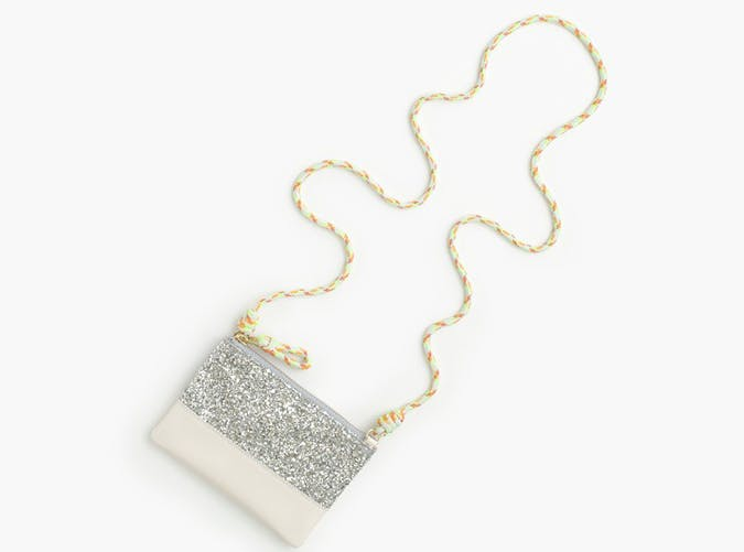Leather and glitter pouchette bag jcrew kids gifts under 25 dollars