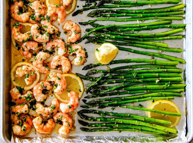 Lemon Garlic Shrimp and Asparagus big batch recipes