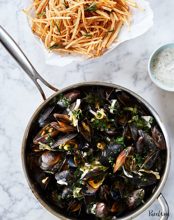 Moules Frites  Steamed Mussels and Fries  holiday seafood recipe