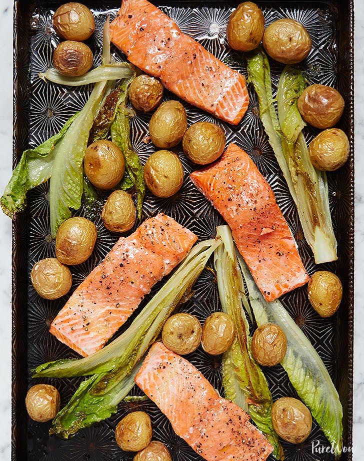 One Pan Roasted Salmon with Potatoes and Romaine holiday seafood recipe