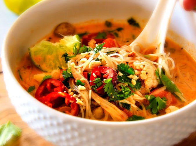 One Pot Thai Chicken Noodle Soup