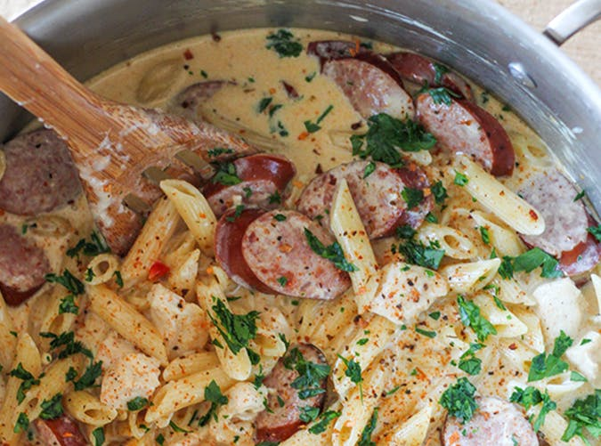 One Pot Cajun Chicken and Sausage Alfredo big batch recipes