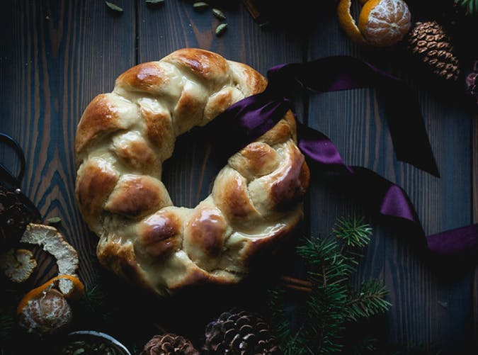 Orange  Vanilla and Cardamom Challah Wreath christmas bread recipe