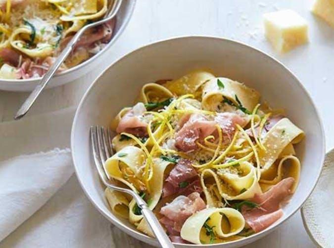 Pappardelle with Prosciutto Arugula and Lemon 15 minute pasta recipe