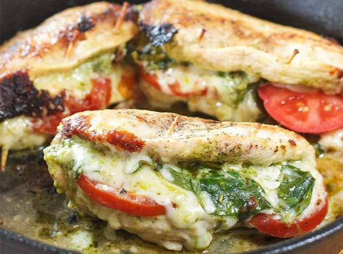 Pesto  Mozzarella and Tomato Stuffed Chicken Breasts holiday recipe