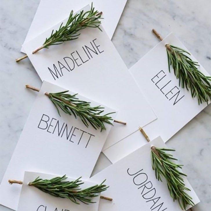 Pine spruce Christmas place card idea