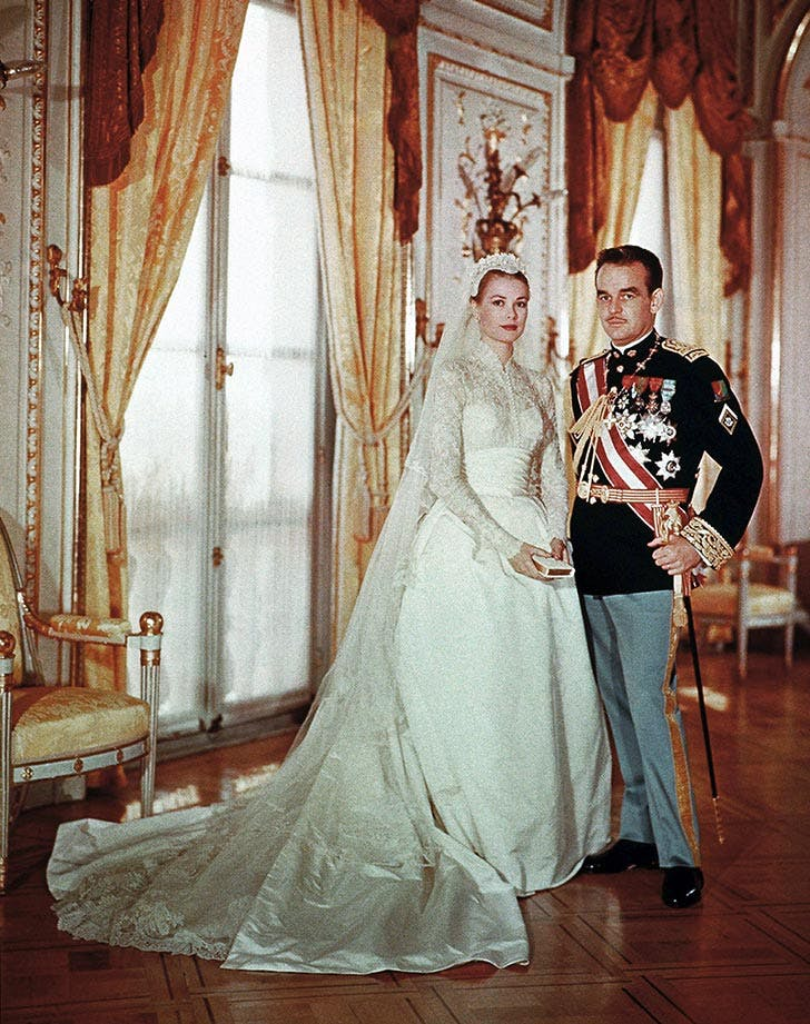 Portrait of Rainier III  Prince of Monaco to Princess Grace on their wedding day