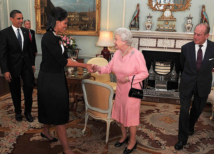 President Barack Obama and his wife Michelle meet with Britain s Queen Elizabeth II and Prince Philip