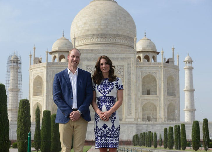 Prince William and the Duchess of Cambridge  during their visit at the Taj Mahal in Agra