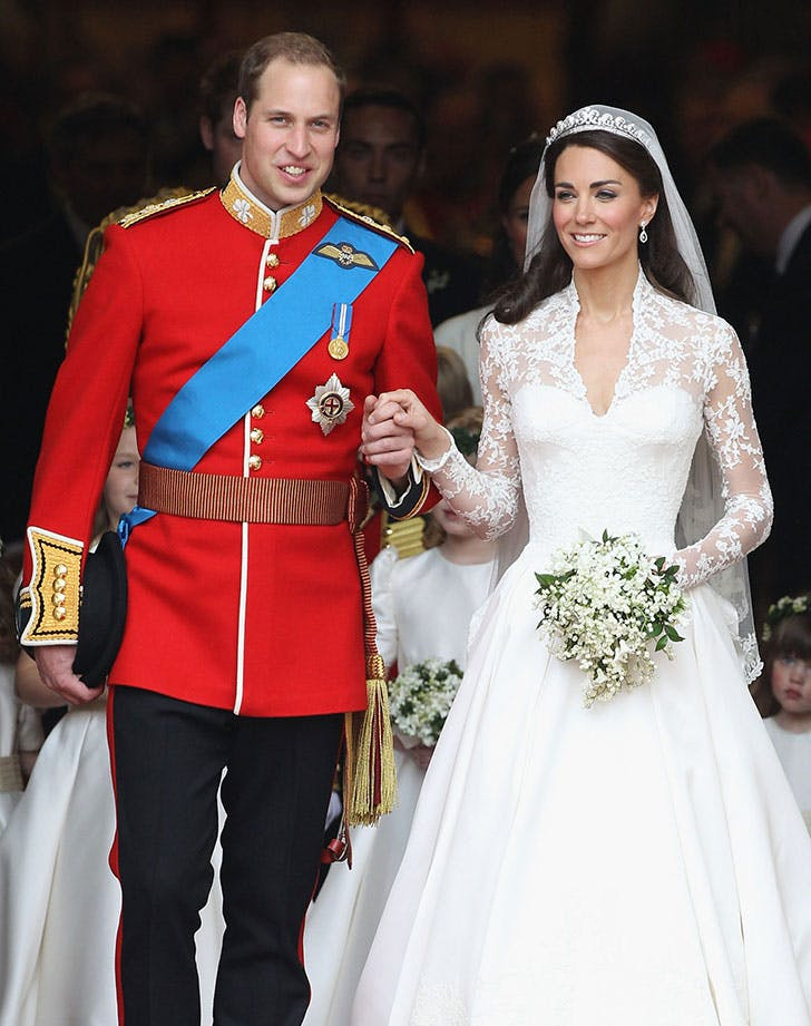 Prince William  Duke of Cambridge and Catherine  Duchess of Cambridge smile following their marriage at Westminster Abbey