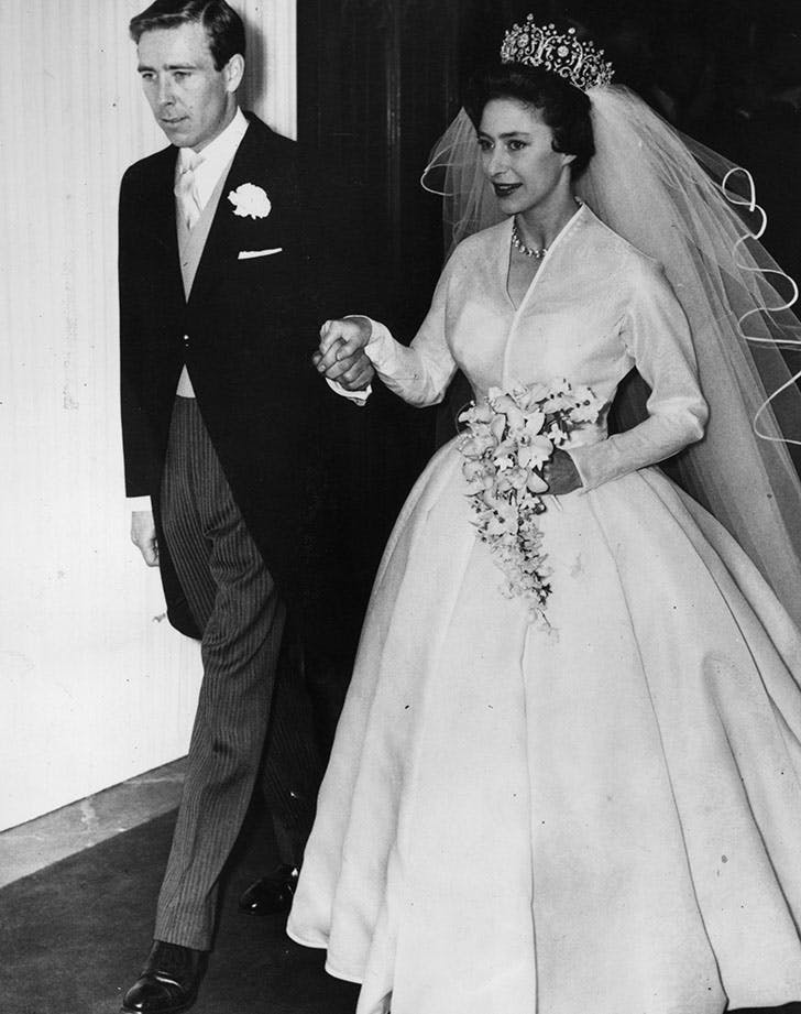 Princess Margaret wearing Norman Hartnell wedding dress to marry Antony Armstrong Jones