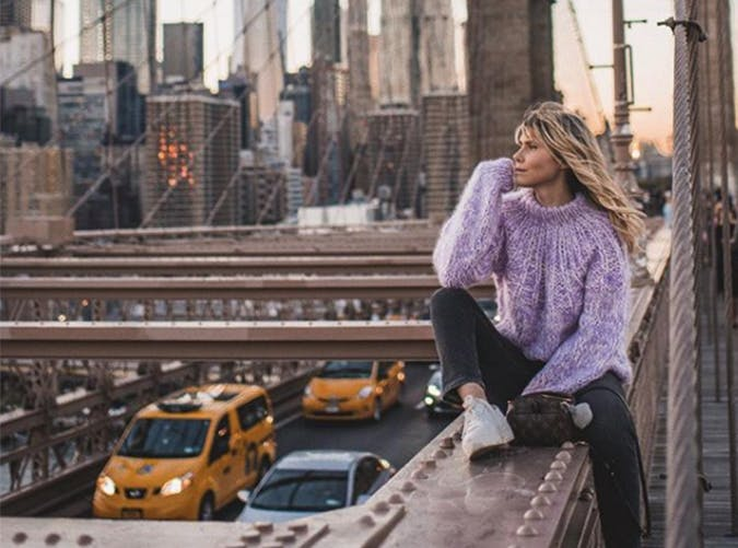 Purple Cozy Sweater Style Upgrade on a Budget