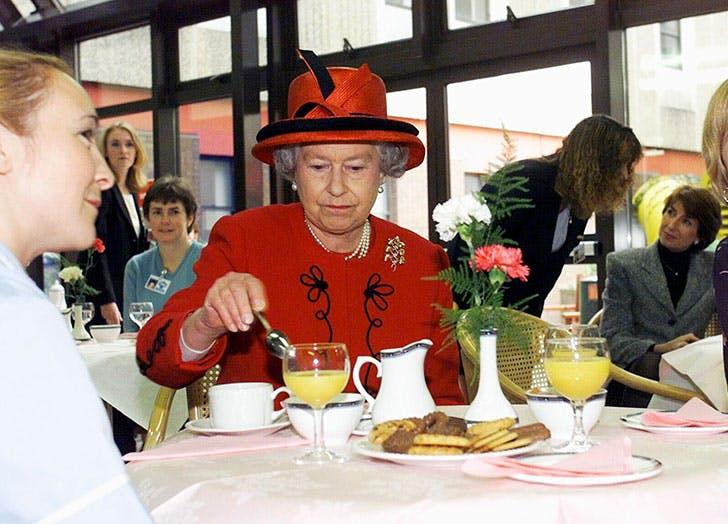 Queen Elizabeth II takes a tea break