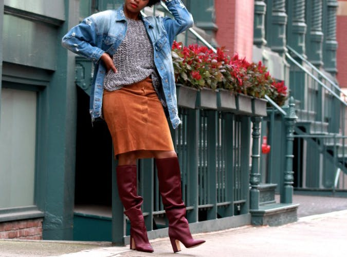 Red Leather Slouchy Boots Style Upgrade on a Budget