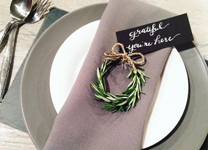 Rosemary Wreath DIY Thanksgiving Place Cards