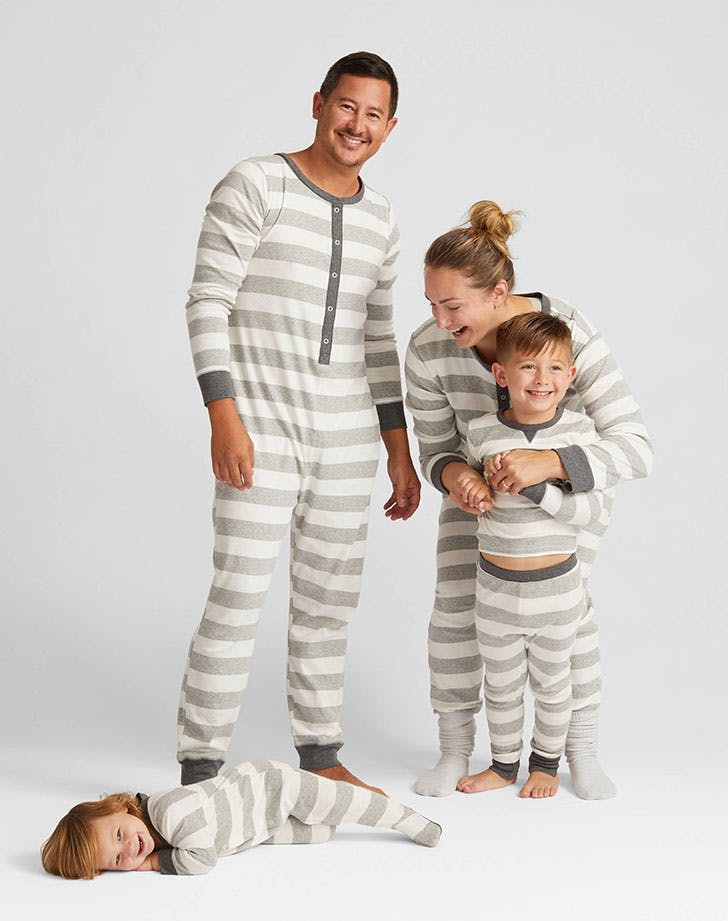 Rugby Striped Unionsuit Family Pajama Set