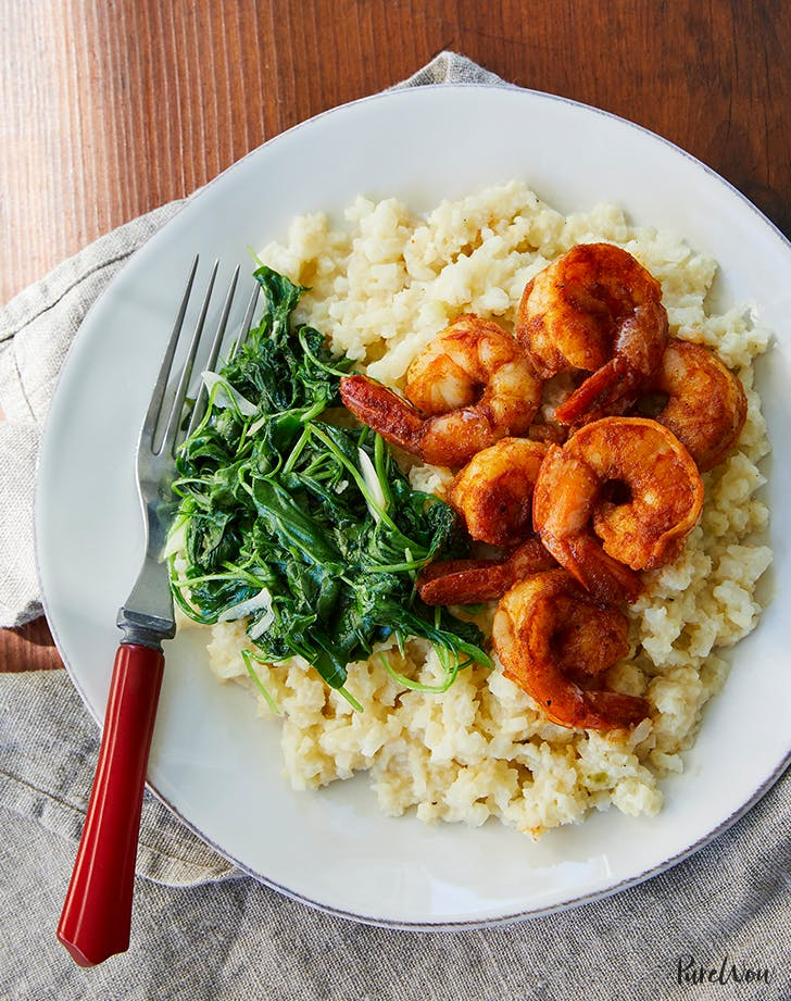 Shrimp with Cauliflower  Grits  and Arugula holiday seafood recipe