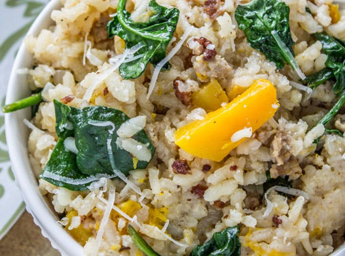 Slow Cooker Risotto with Italian Sausage and Butternut Squash