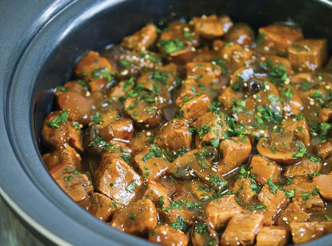 Slow Cooker Steak Tips with Mushrooms