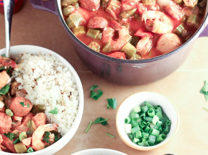 Slow Cooker Gumbo with Chicken  Andouille Sausage and Shrimp ketogenic slow cooker recipes