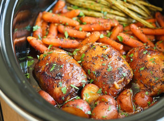 Slow Cooker Honey Garlic Chicken and Veggies big batch recipes