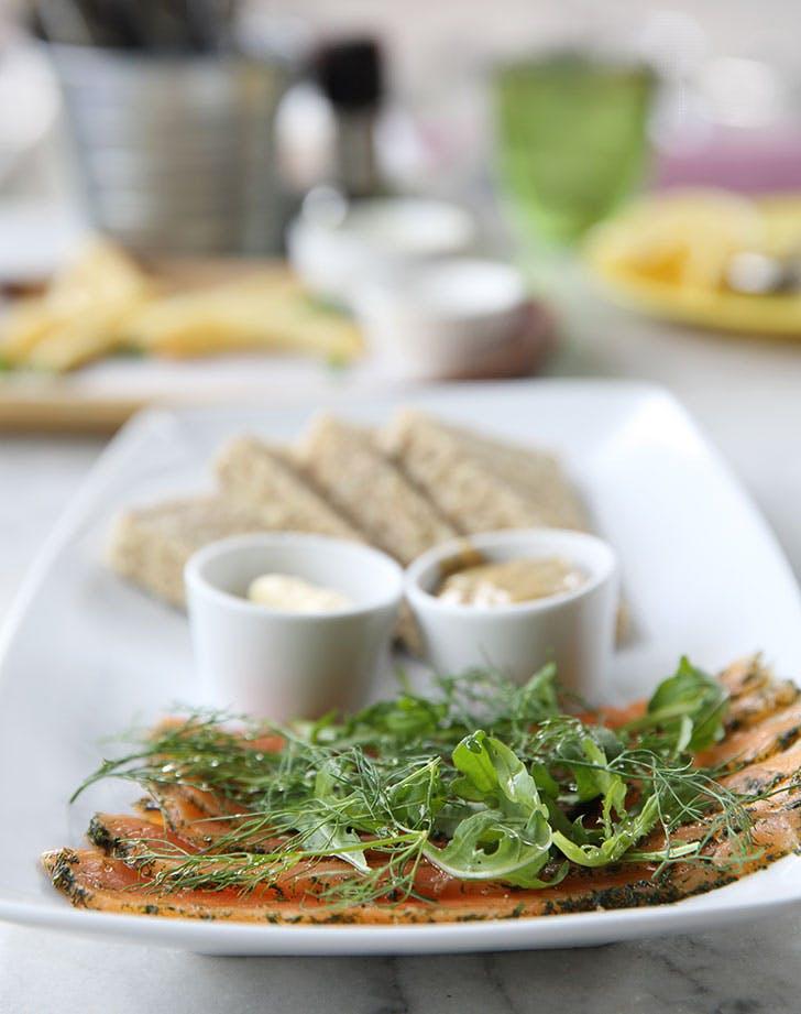 Smoked salmon gravlax with bread for Swedish julbord