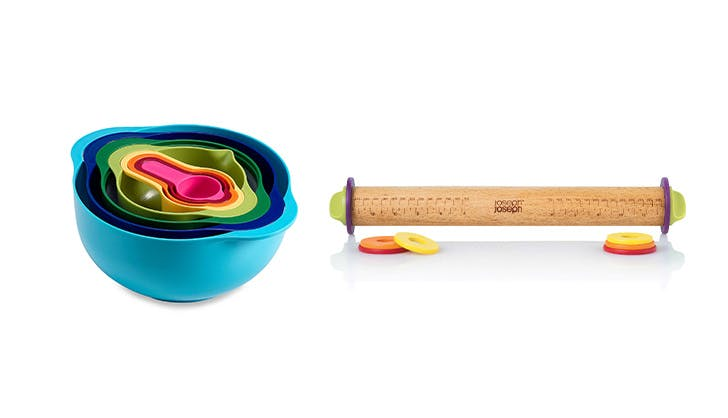 Stackable mixing bowls and rolling pin