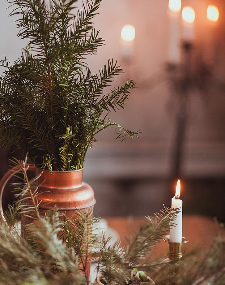 swedish christmas decorations with candles and pine