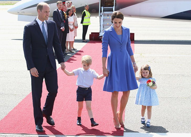 The Duke And Duchess Of Cambridge with family step off plane