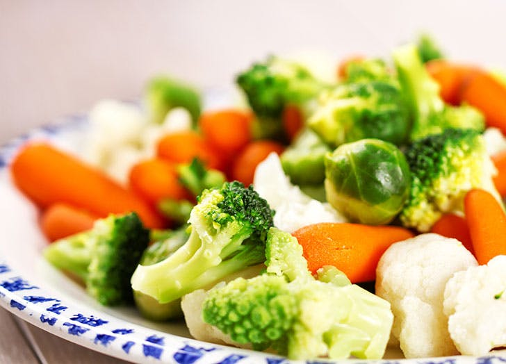 Variety of boiled vegetables