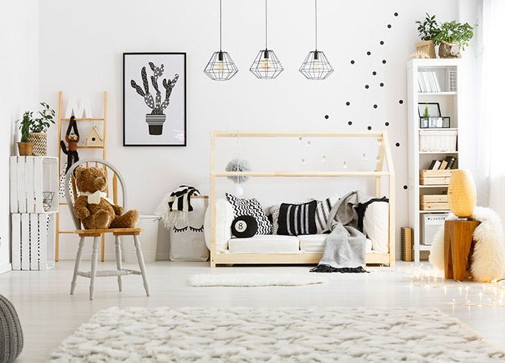 White child bedroom with carpet and bed