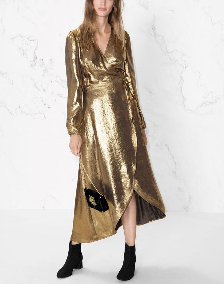 other stories metallic gold holiday dresses