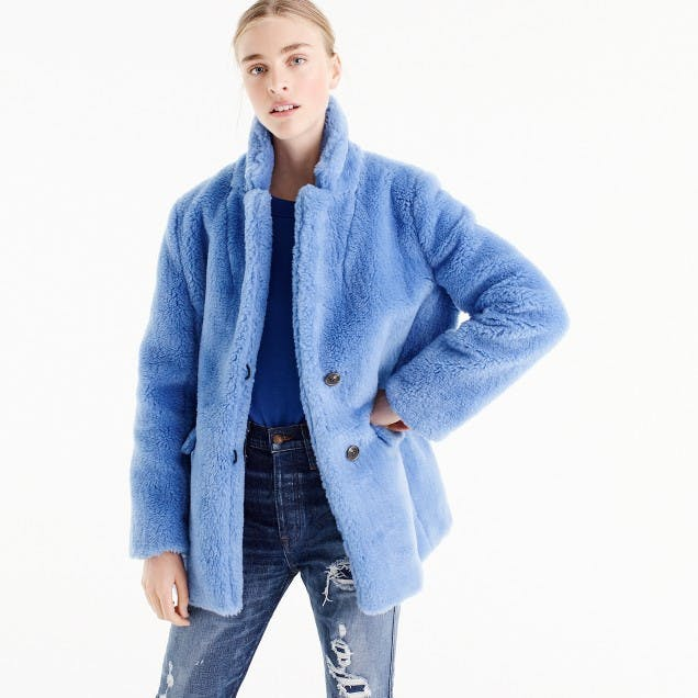 best things to buy at jcrew faux fur coat