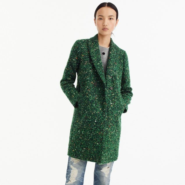 best things to buy at jcrew green tweed coat