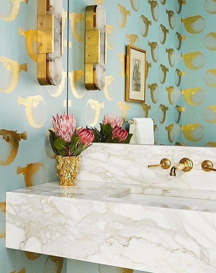 blowfish wallpaper gold