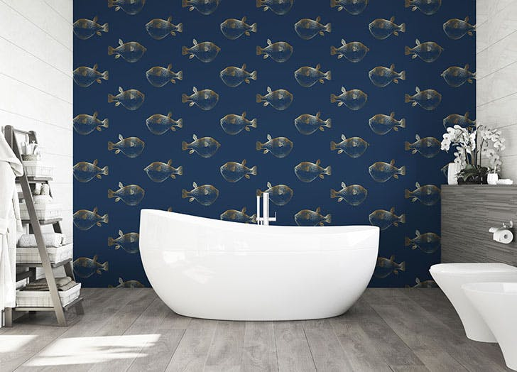blowfish wallpaper navy