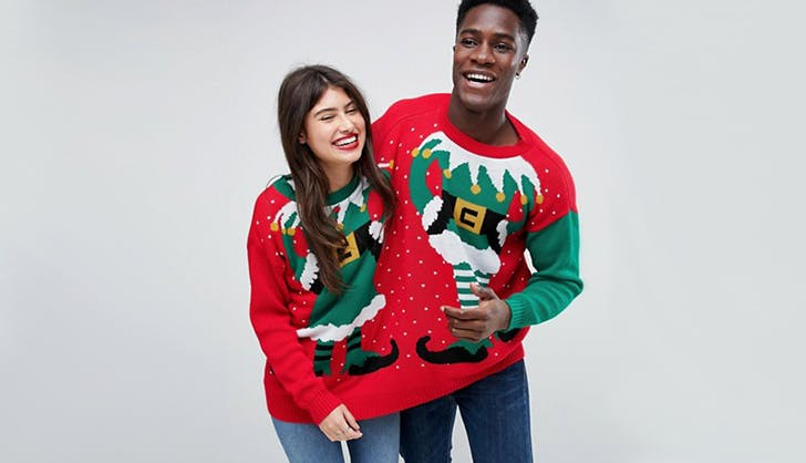 boohoo asos two person ugly christmas sweater