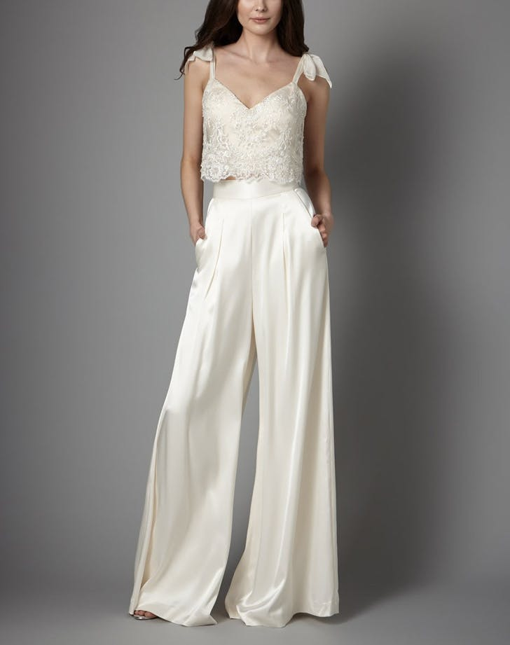 bridal lace top wide leg pants LIST