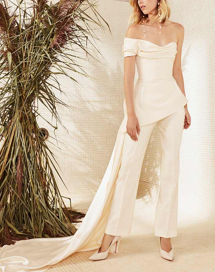 bridal pants off shoulder top with train