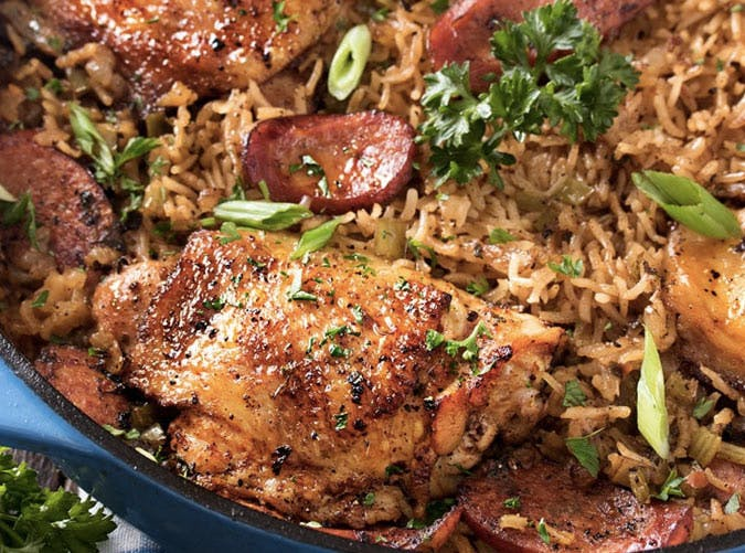chicken thighs dirty rice recipe