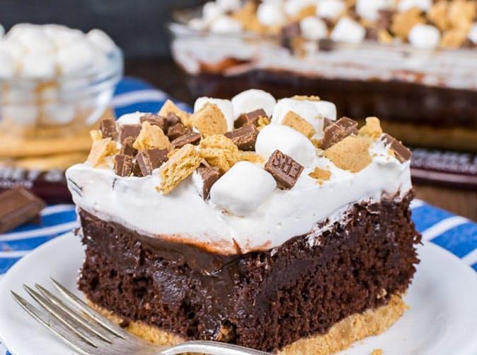 chocolate smores poke cake