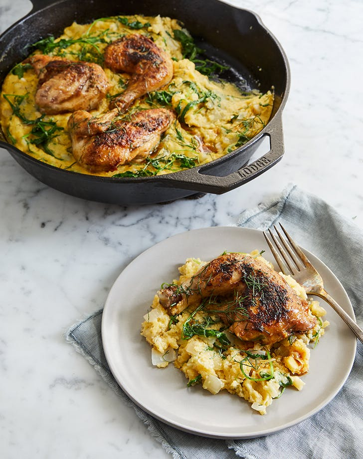 Cornish Hens and Parmesan Polenta with Fennel and Arugula