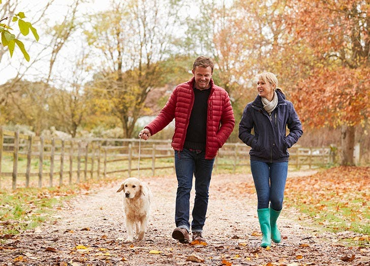 couple walking dog strengthen marriage with kids
