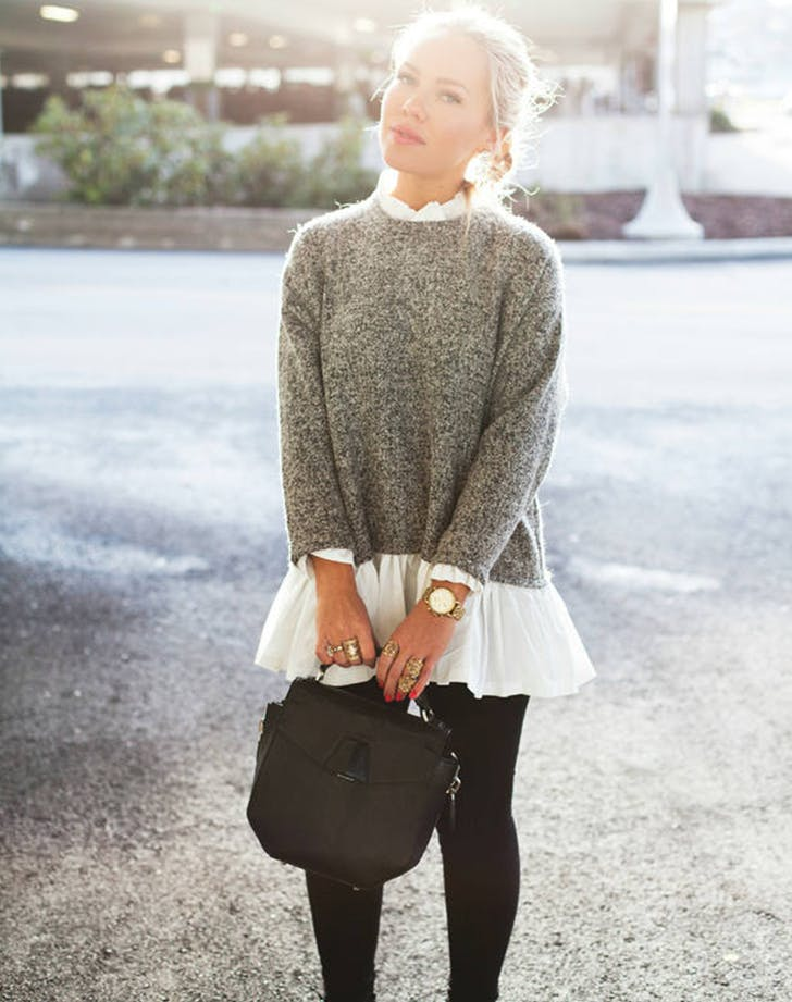 cropped sweater with peplum hem top cath in the city new layering ideas
