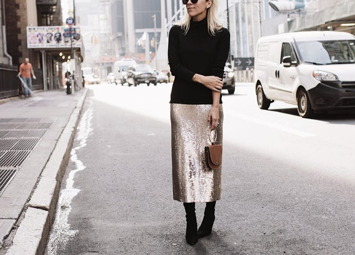 date night outfits sequin skirt