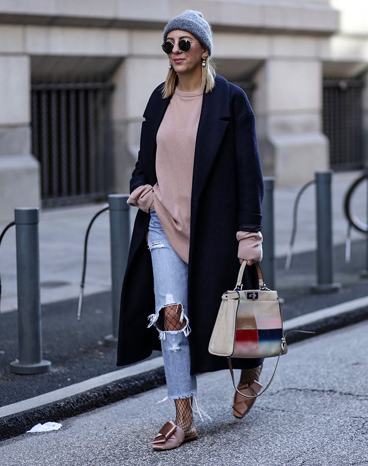 distressed jeans with fishnet tights new layering ideas aylin koenig