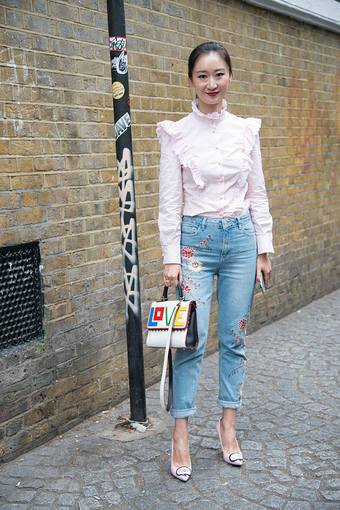 embroidered denim fashion trend