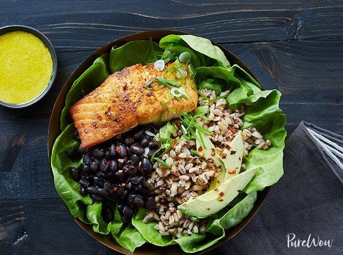 farro tahini salmon bowl recipe 501